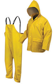 MCR Safety® Yellow Navigator .40 mm Polyester And Polyurethane 2-Piece Rain Suit With Attached Hood And Bib Pants