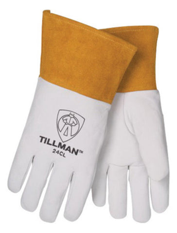"Tillman® Large 14 1/4"" Pearl And Gold Premium Top Grain Kidskin Unlined Left Hand TIG Welders Glove With 4"" Cuff And Kevlar® Thread Locking Stitch -Price is per 1 Each"