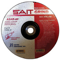 "United Abrasives 9"" X 1/4"" X 7/8"" A24R 24 Grit Aluminum Oxide Type 27 Grinding Wheel   -Price is per 25 Each"