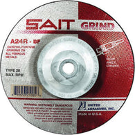 "United Abrasives/SAIT 4 1/2"" X 1/4"" X 5/8"" - 11""  24 Grit Aluminum Oxide Type 28 Grinding Wheel   -Price is per 10 Each"