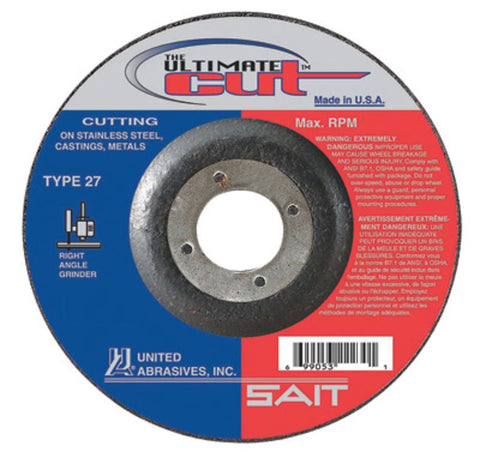 "United Abrasives/SAIT 4 1/2"" X .045"" X 7/8"" Ultimate Cut Proprietary Blend Type 27 Cut Off Wheel   -Price is per 50 Each"