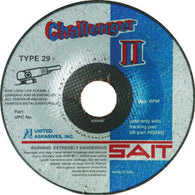 "United Abrasives/SAIT 4 1/2"" X 1/8"" X 7/8"" Challenger II 36 Grit Aluminum Oxide Type 29 Blending Disc   -Price is per 25 Each"
