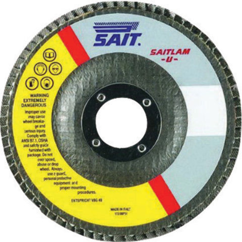 "United Abrasives 4 1/2"" X 7/8"" 60X Grit Saitlam UP Zirconium Type 27 Flat Shape Flap Disc With Fiberglass Backing"