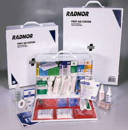 Radnor® White And Black Steel Portable Or Wall Mounted Mounted 200 Person 4 Shelf Industrial First Aid Kit