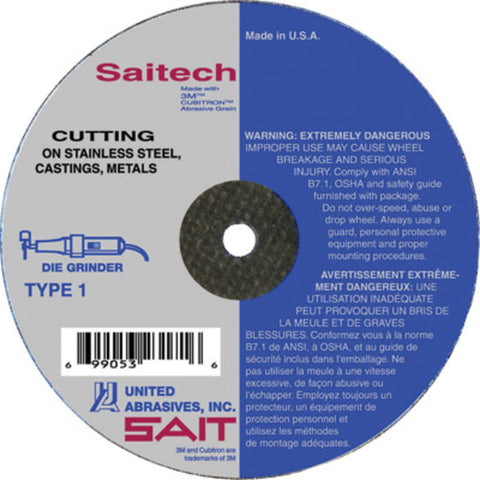 "United Abrasives/SAIT 4"" X 1/16"" X 3/8"" Saitech Ultimate Performance Ceramic Aluminum Oxide Type 1 Cut Off Wheel-Price is per 50 Each"