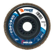 "Weiler® Tiger® Trim 4 1/2"" X 7/8"" 60 Grit Type 29 Flap Disc-Price is per 10 Each"