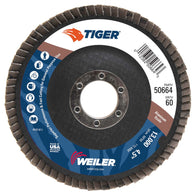 Weiler® TIGer® 4 1/2 X 7/8 60 Grit Type 27 Flap Disc-Price is per 10 Each