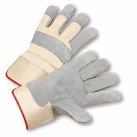 PIP® Medium Standard Split Leather Palm Gloves With Canvas Back And Rubberized Safety Cuff-Price is per 12 Pairs