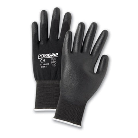 PIP® Small PosiGrip® 13 Gauge Black Polyurethane Palm And Finger Coated Work Gloves With Nylon Liner And Rib Knit Cuff-Price is per 1 Pair