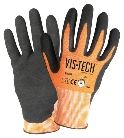 Wells Lamont Small Vis-Tech™ 13 Gauge Fiber And Stainless Steel Cut Resistant Gloves With Sandy Nitrile Coated Palm And Fingertips