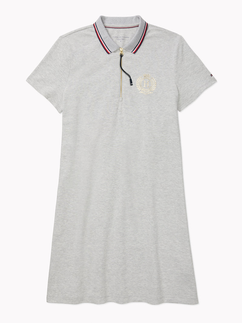 Global Tipped Zip Polo Dress (Womens) - Grey Heather