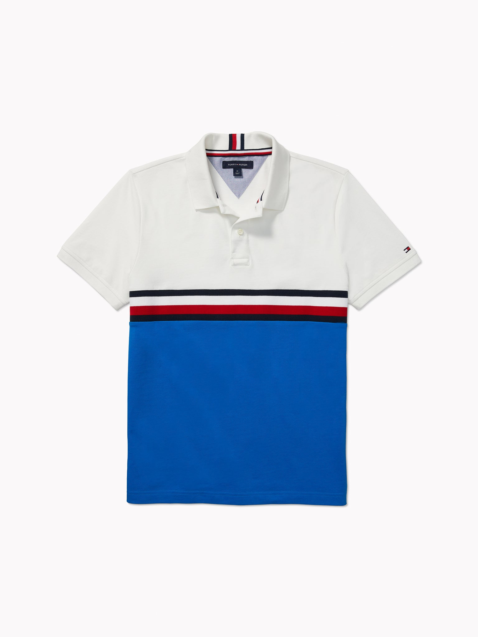 Block Stripe Polo (Mens) - Blue/ White/Red