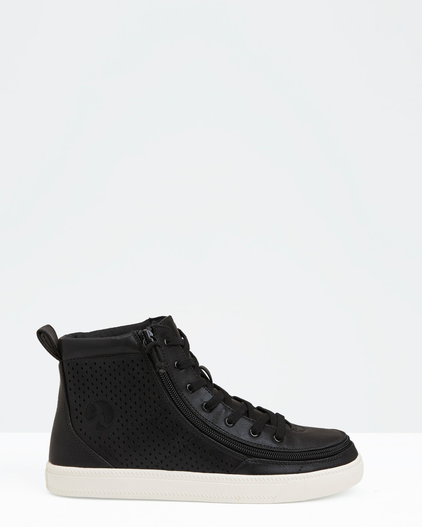 Classic High-Top Faux Leather Sneaker (Women) - Black Shine