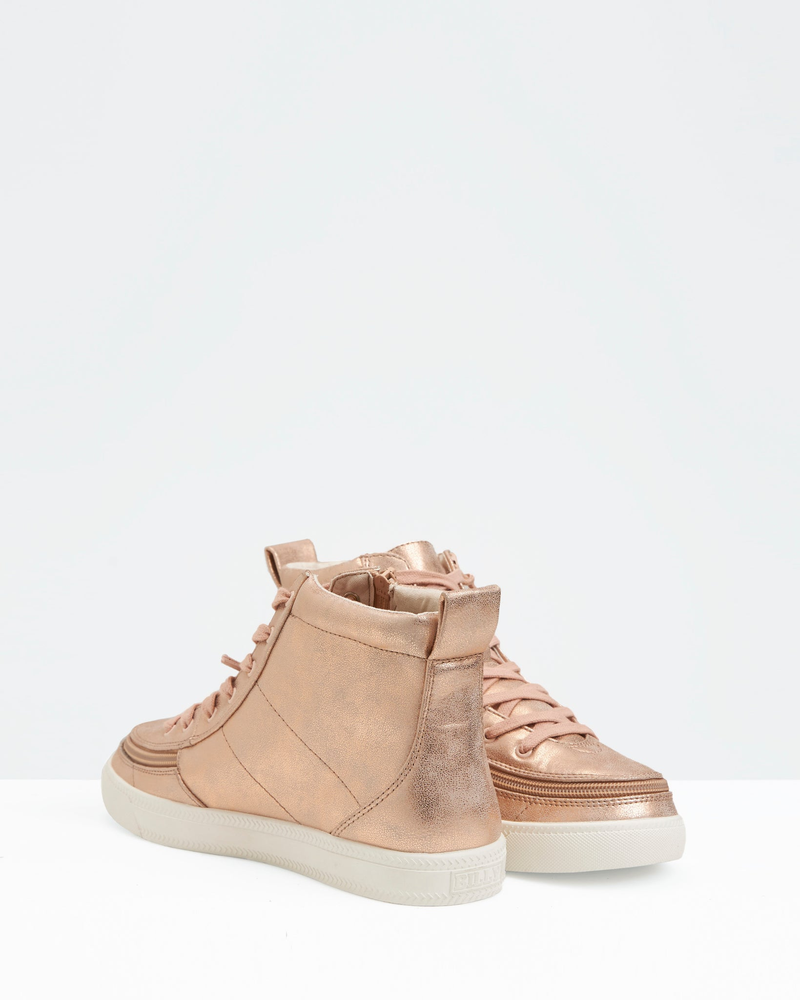 Classic High-Top Faux Leather Sneaker (Women) - Rose Gold Shine