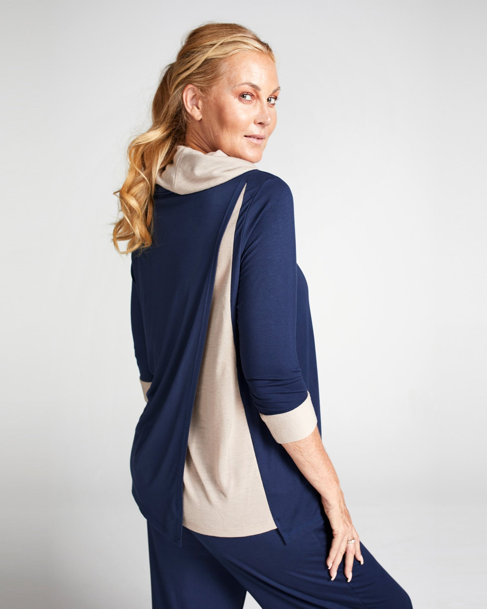 Cowl Neck Leaf Back Top