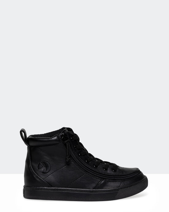 Classic High-Top Faux Leather Sneaker (Little Kid/Big Kid) - Black to the Floor
