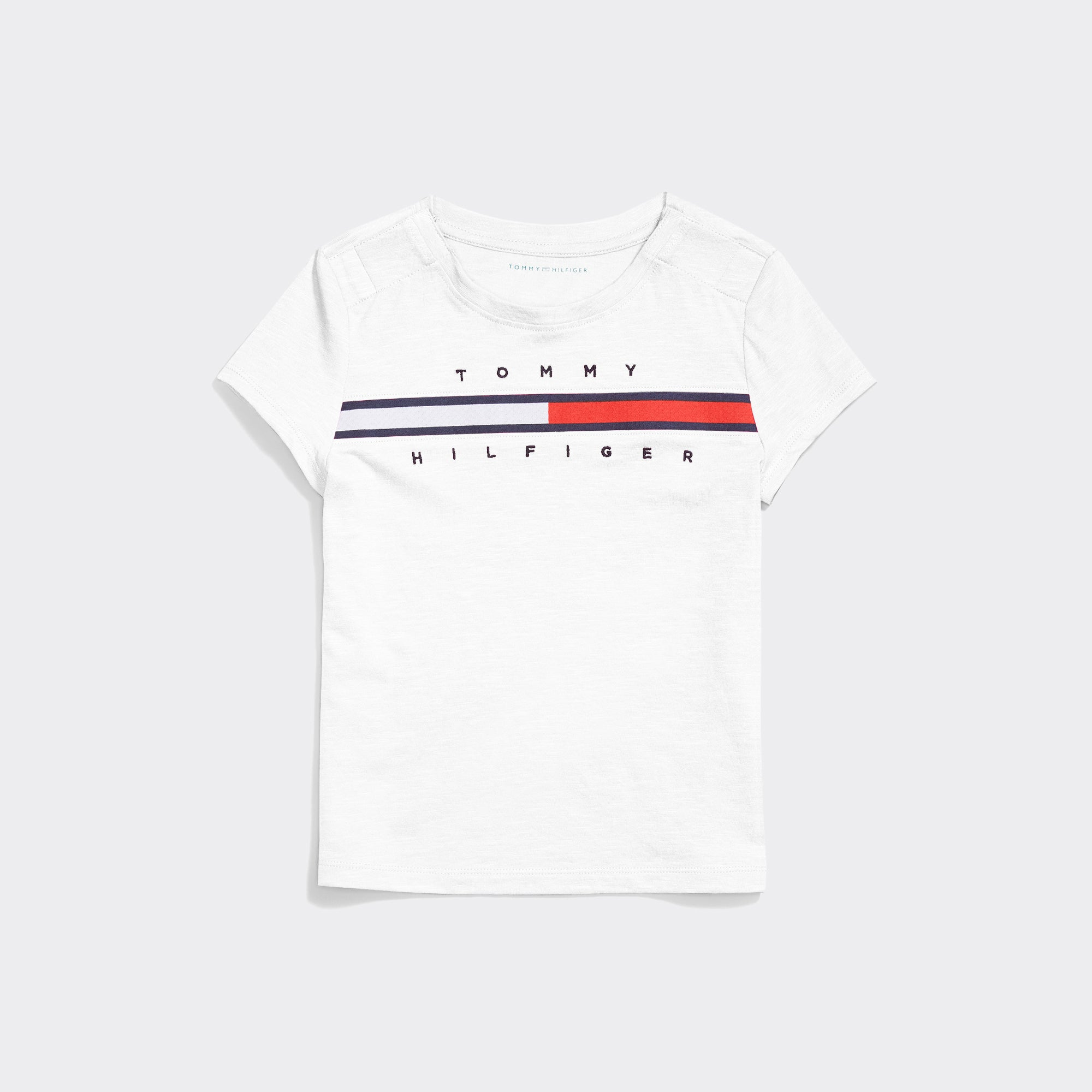 Tommy Stripe Crew Tee (Girls) - White