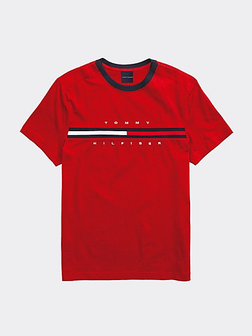 Tommy Stripe Crew Tee - Red