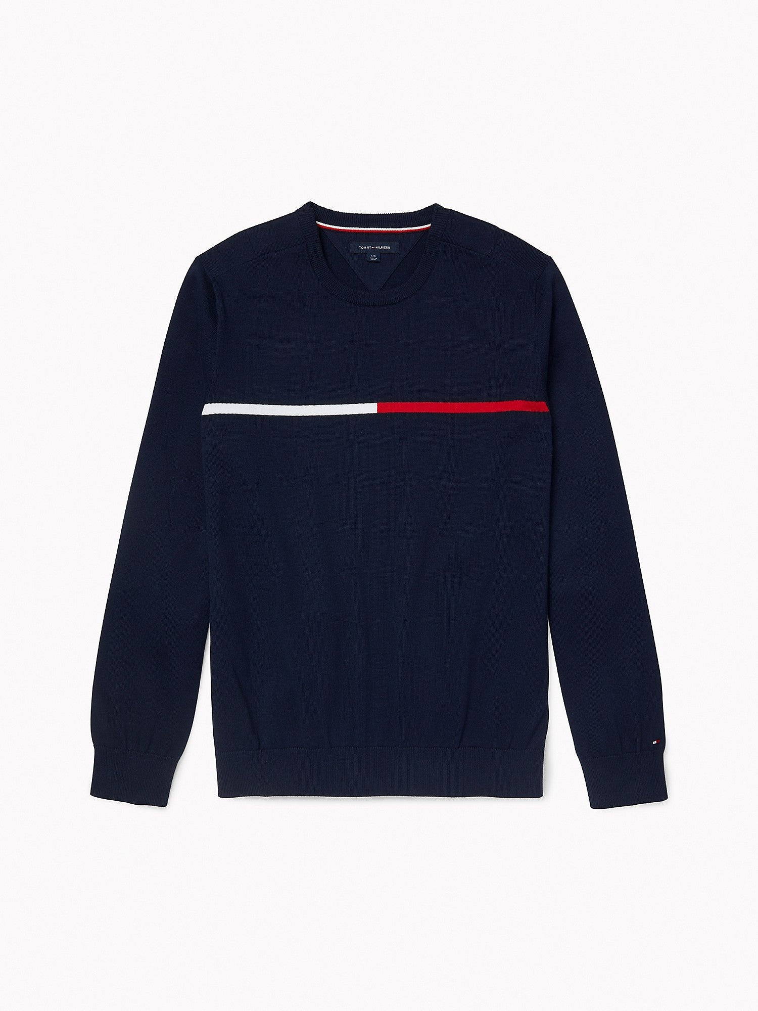 Tommy Stripe Crew Neck Sweater - Navy