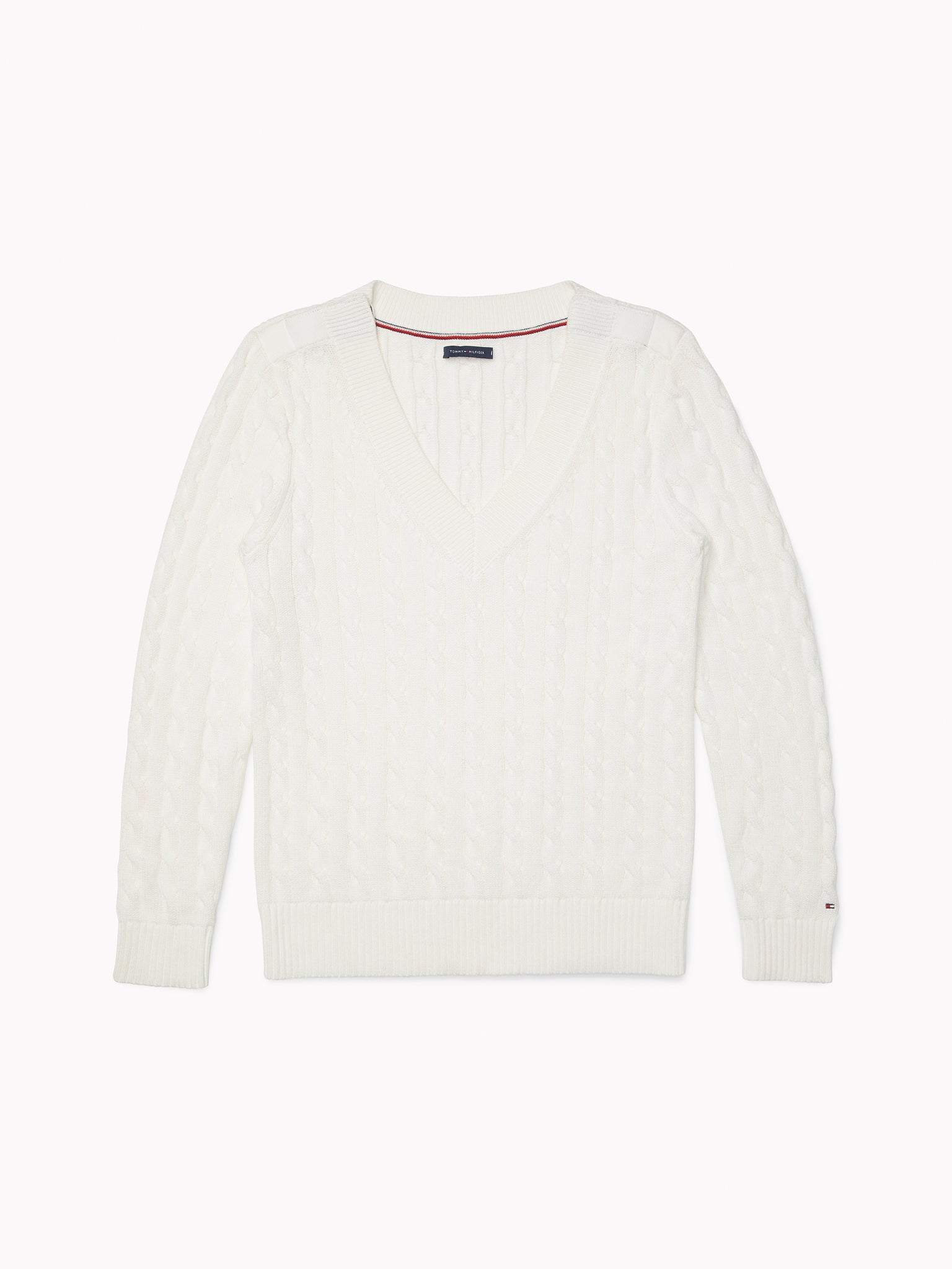 Tommy Cable Sweater - White
