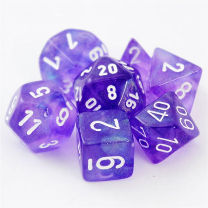Chessex Signature Polyhedral Dice Set Borealis Purple/White