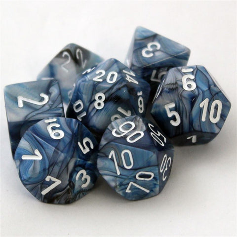 Chessex Signature Polyhedral Dice Set Slate/White