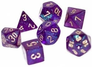Chessex Signature Polyhedral Dice Set Borealis Purple/Gold