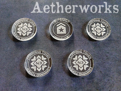 Aetherworks: Infinity Command Token (x4) Lieutenant Token (x1) - Clear