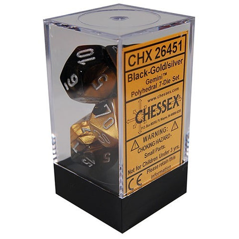 Chessex Gemini Polyhedral Dice Set Black-Gold/Silver