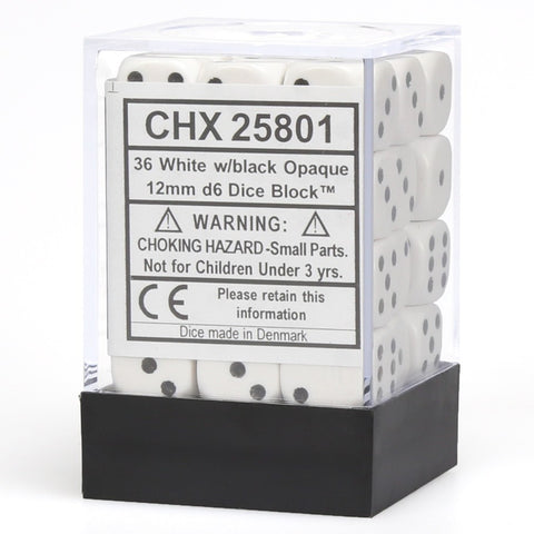 Chessex: D6 Opaque Cube Set (12mm) - White/Black