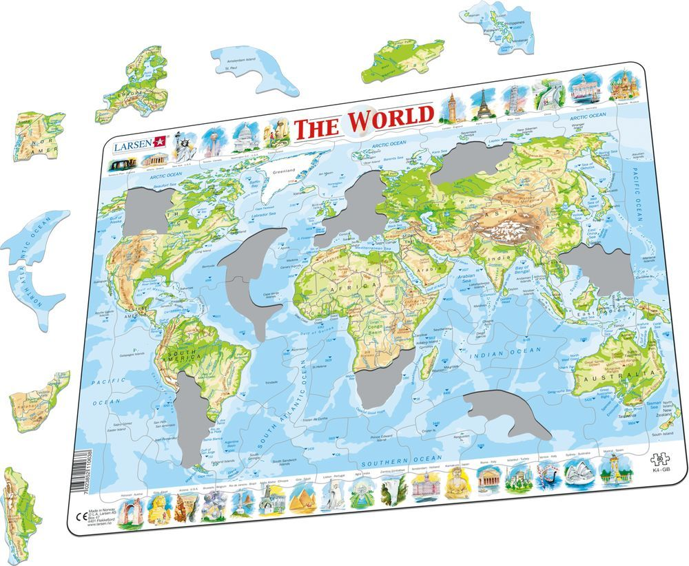 Larsen: Physical Map of World - 80 Piece Puzzle