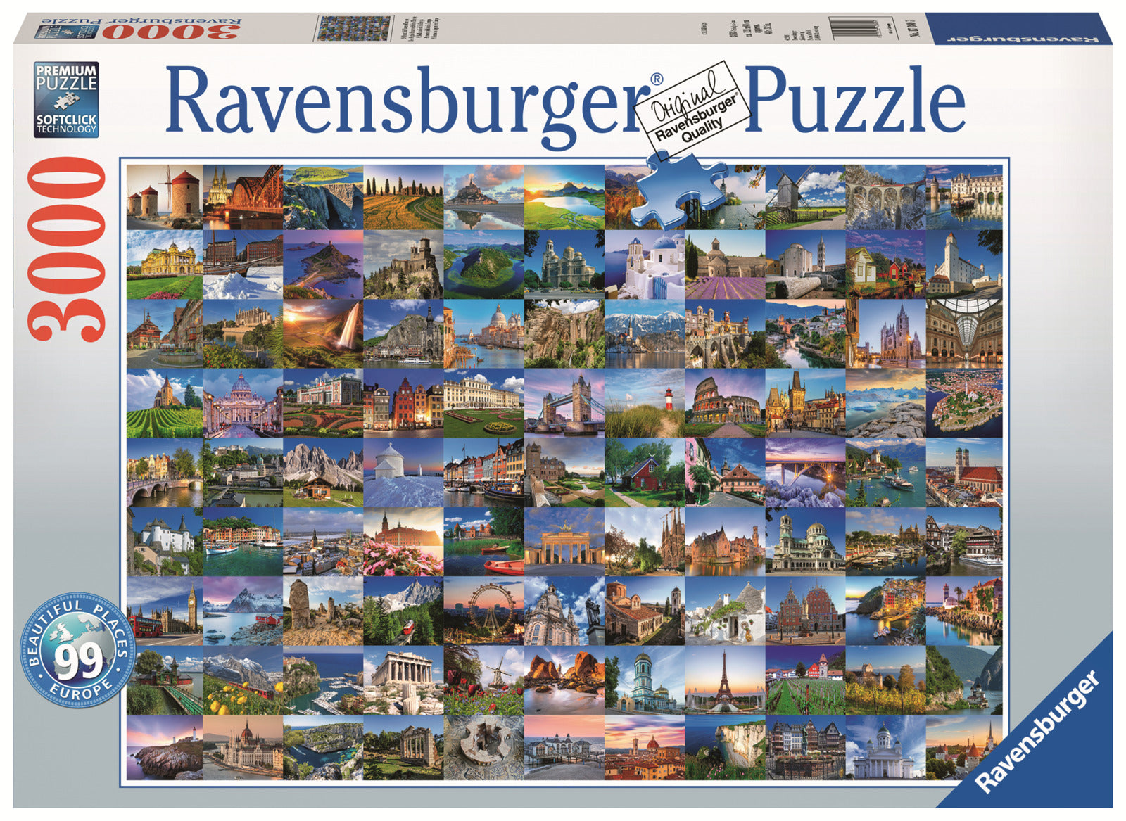 Ravensburger: 3,000 Piece Puzzle - 99 Beautiful Places of Europe