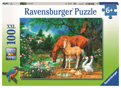 Ravensburger: 100 Piece Puzzle - Ponies at the Pond