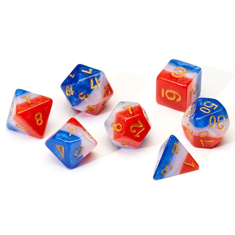 Sirius Dice Red White Blue Gold Polyhedral Dice Set