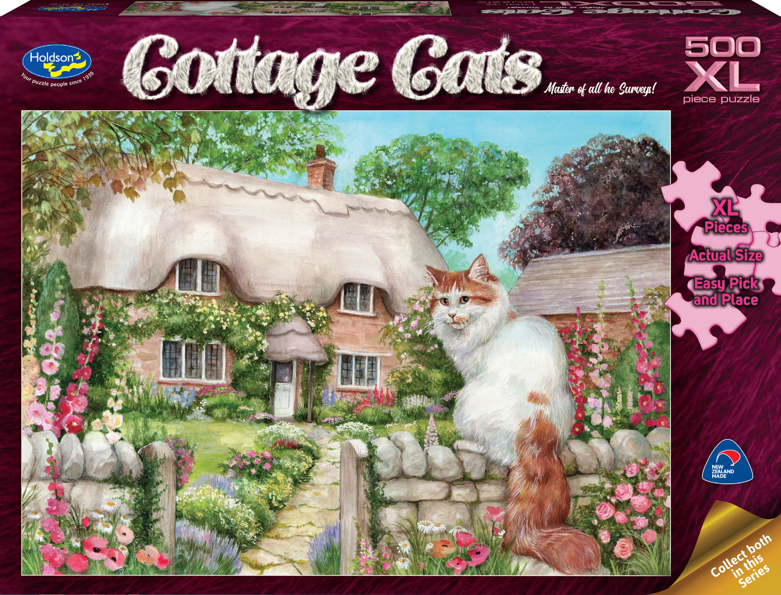 Holdson XL: 500 Piece Puzzle - Cottage Cats (Master Of All He Surveys!)