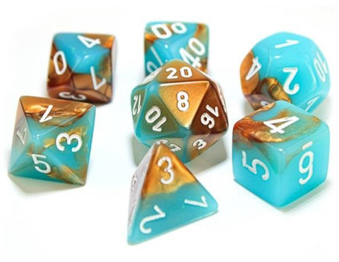 Chessex: Gemini Polyhedral Dice Set - Copper-Turquoise (Luminary)
