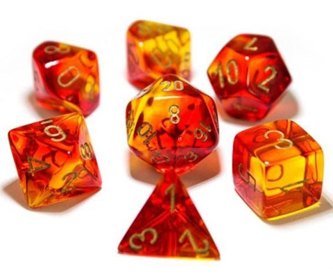 Chessex: Gemini Polyhedral Dice Set - Red/Yellow (Transparent)