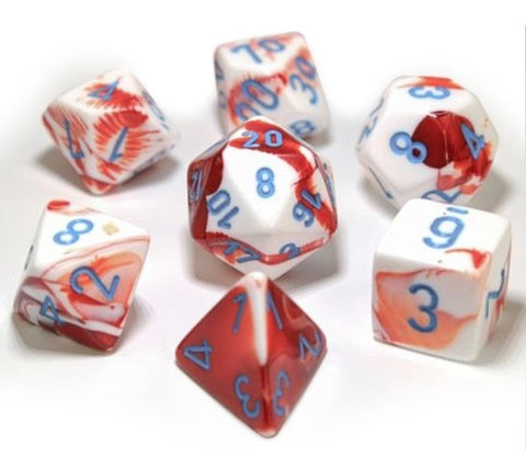 Chessex: Gemini Polyhedral Dice Set - Red-White (Opaque)