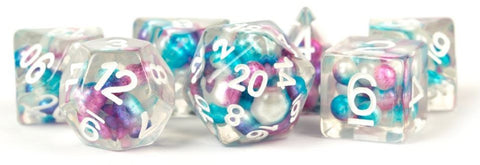 MDG: Pearls Polyhedral Dice Set - Gradient Purple & Teal-White