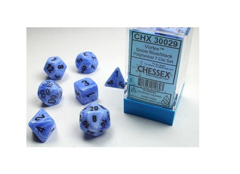Chessex Gemini Polyhedral Dice Set Snow blue/black