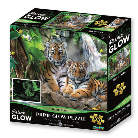 Super 3D: 100pc Glow In The Dark Puzzle - Tiger Falls