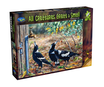 Holdson: 1000 Piece Puzzle - All Creatures Great & Small - Waiting for my Turn (Magpies)