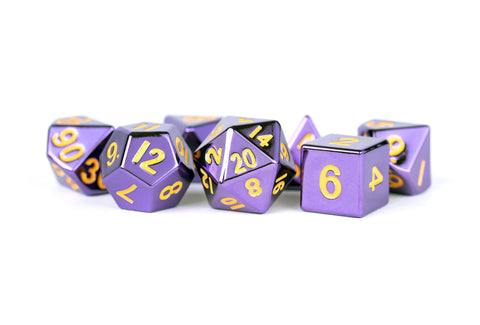 MDG: Metal Dice - Purple with Gold Numbers 16mm Poly Set