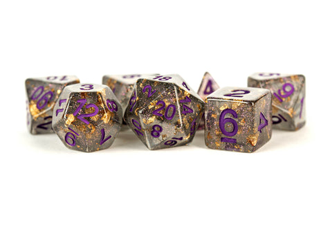 MDG: Resin Polyhedral Dice Set - Gray w/ Gold Foil, Purple Numbers