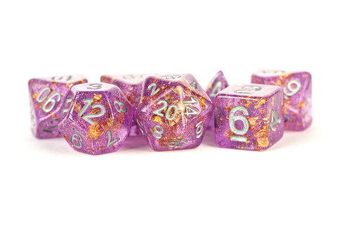 MDG: Resin Polyhedral Dice Set - Purple w/ Gold Foil