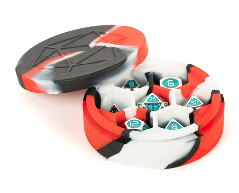 MDG: Silicone Round Dice Case - Red/Black/White