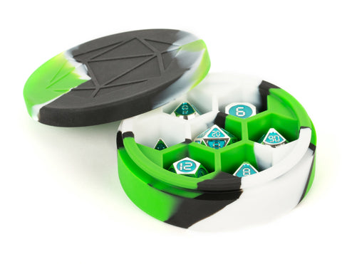 MDG: Silicone Round Dice Case - Green/Black/White