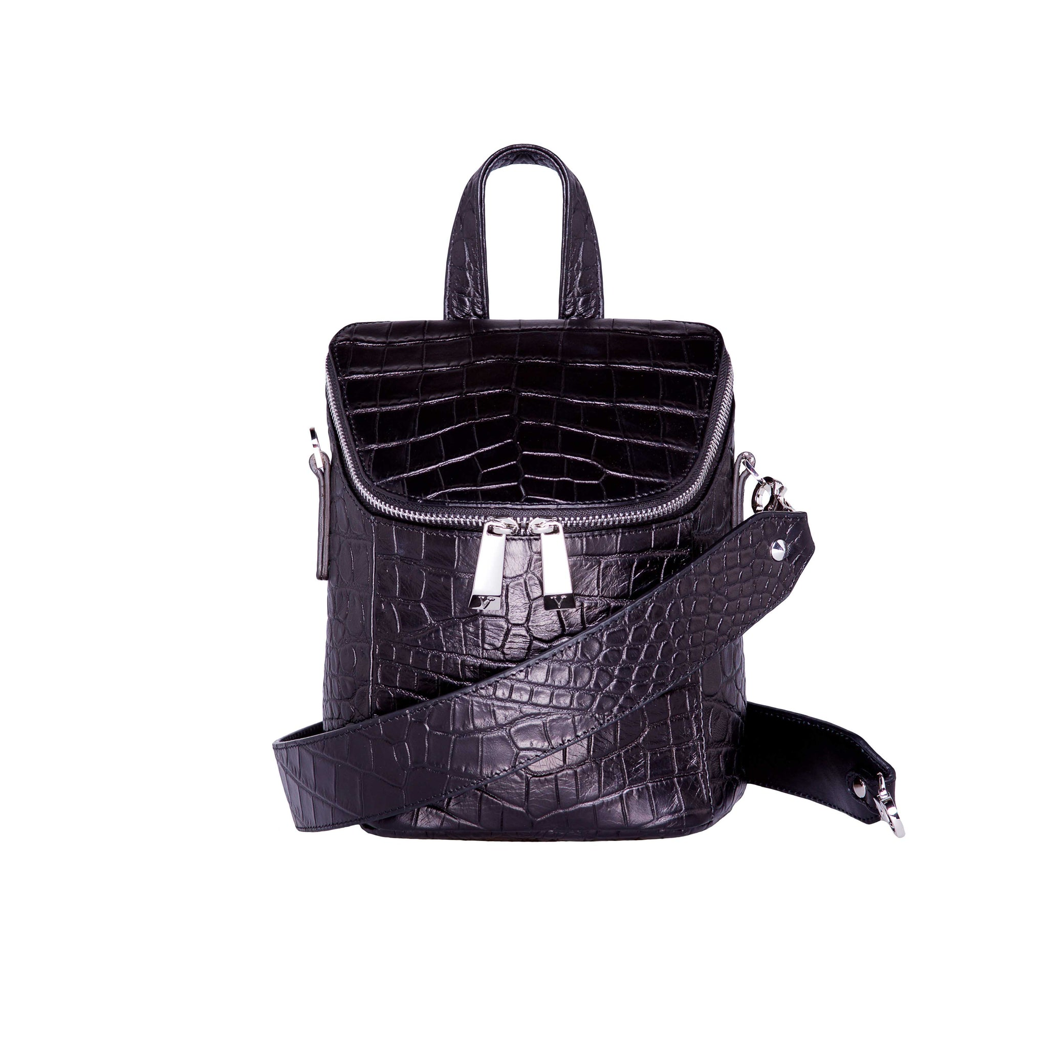 MINI BACKPACK BLACK CROCO
