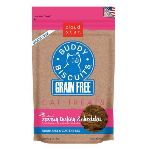 Cloudstar Grain Free Buddy Biscuits for Cats Savory Turkey & Cheddar 3oz