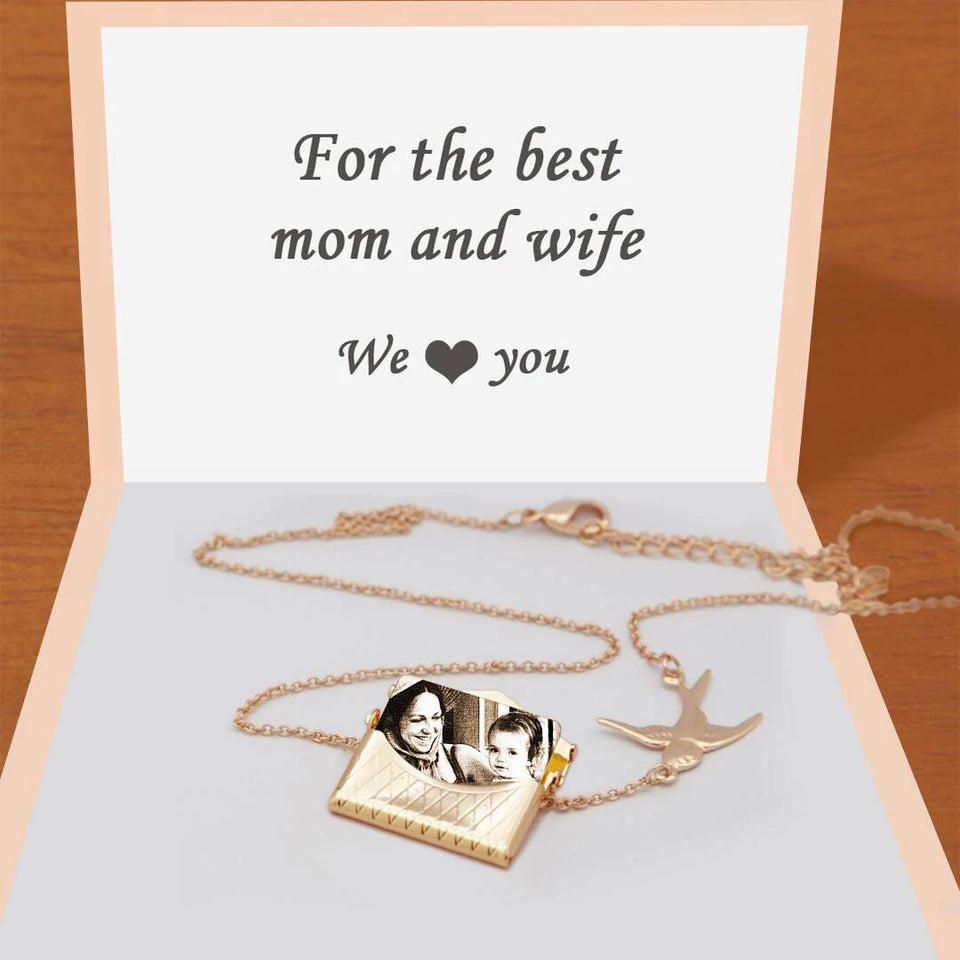 Christmas Gifts Mylongingcharm Personalised Photo Envelope Necklace with Bird